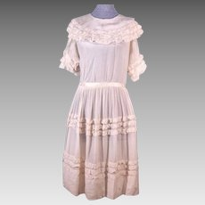 Sweet Early Edwardian Antique Child's White Silk Dress