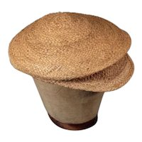 Authentic c.1900 Antique Men's Straw Golf Cap Vintage Flat Hat