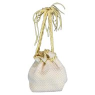 Fab 1960's Yellow and White Vintage Draw String Rope Purse