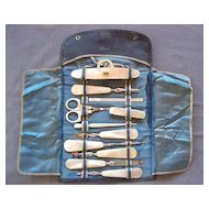 C.1900 11-pc. Mother of Pearl Manicure Set with MOP Scissors