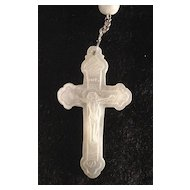 C.1880 Catholic Rosary, Mother of Pearl Beads and Carved Christ