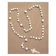 Early 1900's Mother of Pearl Rosary with Engraved M.O.P. Crucifix