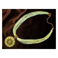 Vintage C.1970's Green Multi Strand Necklace & Large Round Pendant