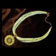 Vintage C.1970's Green Multi Strand Necklace & Large Round Pendant