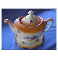 English Porcelain Set, Teapot and Trivet, Hand Painted Flowers