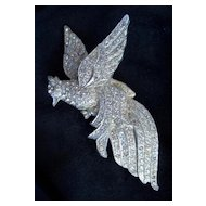 Rhinestone Bird Brooch Pin