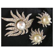 Rhinestone Brooch Pin & Earrings 3-pc. Set
