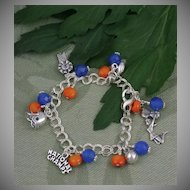 Blue and Orange Celebration Charm Bracelet