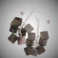 Black Lip Shell Brownie Earrings in Sterling Silver