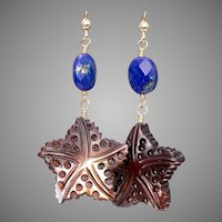 Lapis Lazuli and carved Mother of Pearl Earrings in 14 K Gold-Fill