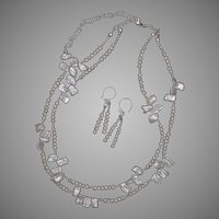 White Keshi Pearls Two Strand Necklace and Earrings Set