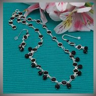 Jet Swarovski Crystal Cuplink Necklace and Earrings Set