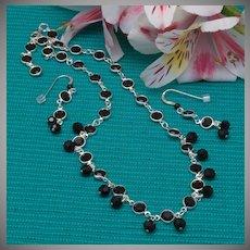 Jet Swarovski Crystal Cuplink Necklace and Earrings Set