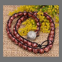 Mosaic Mother-of-Pearl and Leather Wrap Bracelet