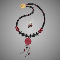 Ancient Coin - Red and Black Lampwork Necklace and Earrings Set