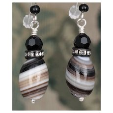 Agate and Swarovski Crystal Earrings in Sterling Silver