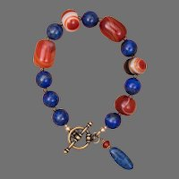 Brassy Blue and Orange Bracelet