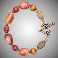 Agate and Nephrite Bracelet in Brass