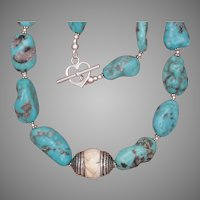 Turquoise and Conch Shell Necklace