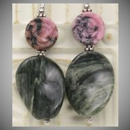 Spring Time Earrings with Rhodonite and Green-line Jasper