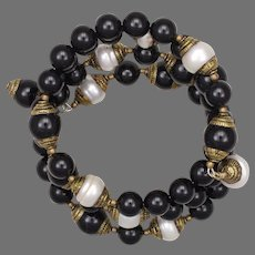 Stacked Bracelet of Black Onyx and Agate and White Pearl