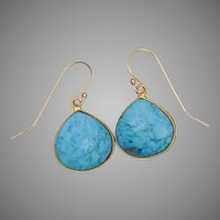 Turquoise and Vermeil Tear Drop Earrings