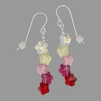 Colorful Swarovski Crystal Spring Flowers Earrings