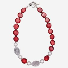 Coral and Crystal Quartz Necklace with Earrings