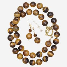 Tiger's Eye Necklace and Earrings Set