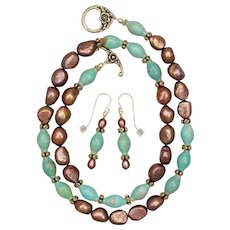 Blue Green Turquoise and Golden Bronzed Freshwater Cultured Pearls Necklace and Earrings Set