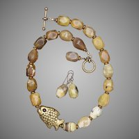 Yellow Opal Nuggets and Brass Fish Necklace and Earrings Set