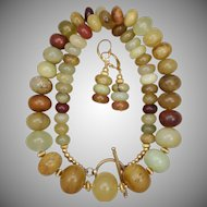 Earthy Chinese Serpentine Necklace and Earrings Set