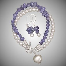 Tanzanite and Freshwater Cultured Pearl Bracelet and Earrings