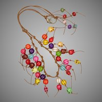 Colorful Halloween Necklace with Leather