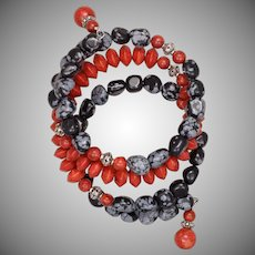 Snowflake Obsidian and Sponge Coral Bangle Bracelet