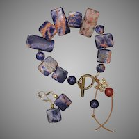 Orange Sodalite Bracelet and Earrings Set