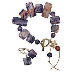 Orange Sodalite Bracelet and Earrings Set