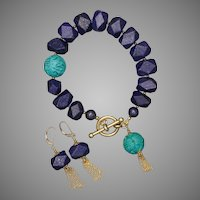 Lapis Lazuli and Turquoise Bracelet and Earrings with Tassels