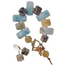 Amazonite Black-Gold Bracelet and Earrings Set