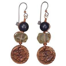 Sun Moon Copper Charm Earrings