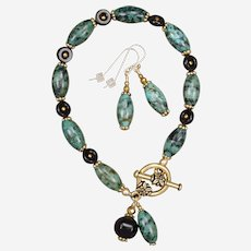 African Turquoise Jasper and Black  Onyx Bracelet and Earrings Set
