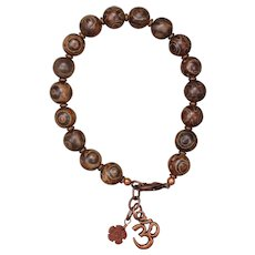Agate and Copper 'Om' Bracelet
