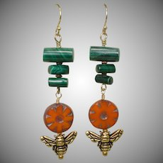 Malachite and Czech Flower Long Earrings