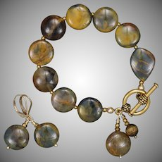 Pietersite Bracelet and Earrings Set