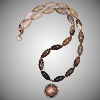 Wood Opalite and Nepalese Copper Coin Pendant Necklace