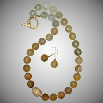 Golden Quartz Necklace with Pave Bead and Earrings Set