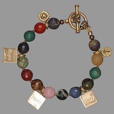 Multi Gemstones 'Faith, Hope and Pray' Charm Bracelet