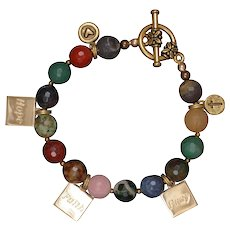 Multi Gemstones 'Faith, Hope and Pray' Charm Bracelet