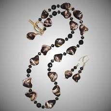 Gold and Black Mother of Pearl and Onyx Necklace and Earrings Set