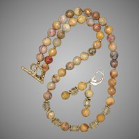 Crazy Lace Agate and Citrine Necklace and Earrings Set